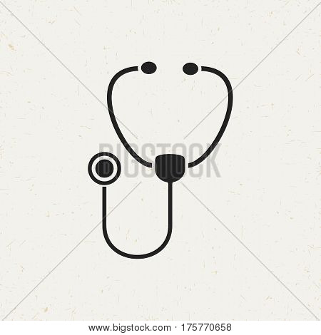 Flat monochrome stethoscope icon in vintage style. Isolated stethoscope icon for use in variety of projects. Black and white vector stethoscope icon for web sites and apps.