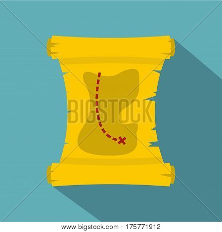 Treasure map icon. Flat illustration of treasure map vector icon for web