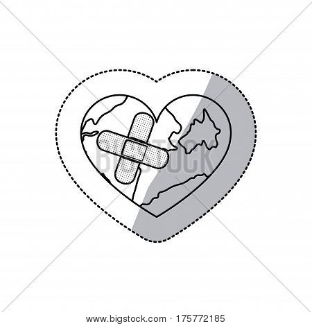 contour earth planet heart with band aid icon, vector illustraction design