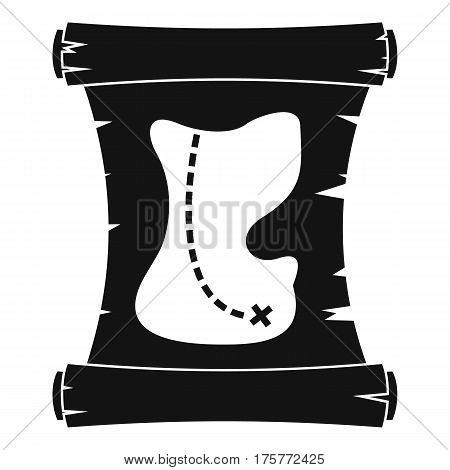 Treasure map icon. Simple illustration of treasure map vector icon for web