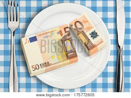 split money on plate financial share concept