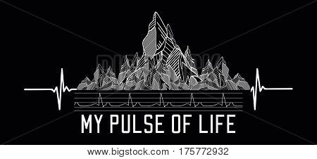 Mountains tattoo art t-shirt design slogan my pulse of life. Symbol travel tourism extreme sports and rock climbing tribal style.