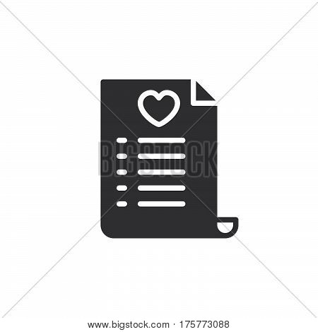 Wish list icon vector filled flat sign solid pictogram isolated on white. Symbol logo illustration