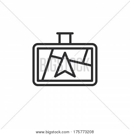 GPS navigator line icon outline vector sign linear style pictogram isolated on white. Symbol logo illustration