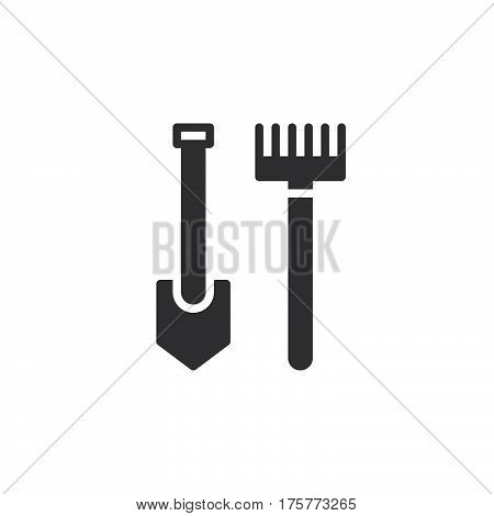 Rake and shovel icon vector filled flat sign solid pictogram isolated on white. Garden accessories for gardening Symbol logo illustration