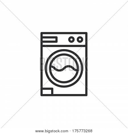 Laundry washing machine line icon outline vector sign linear style pictogram isolated on white. Symbol logo illustration