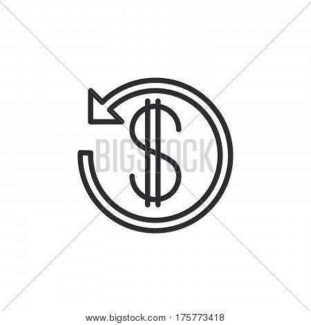 Dollar sign with arrow around line icon outline vector sign linear style pictogram isolated on white. Cashback symbol logo illustration