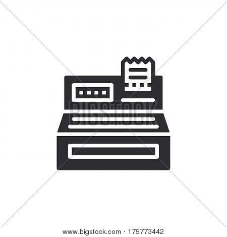 Cash register icon vector filled flat sign solid pictogram isolated on white. Order checkout symbol logo illustration