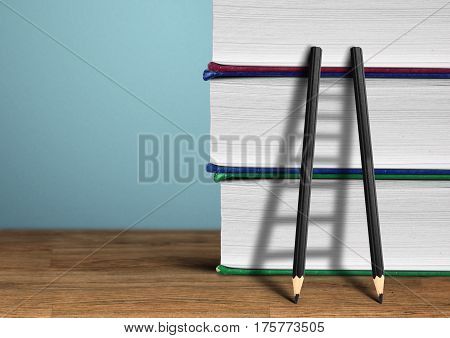 Education concept , pencil Ladder and books