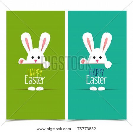 Vector illustration Easter bunny, two card to a happy Easter