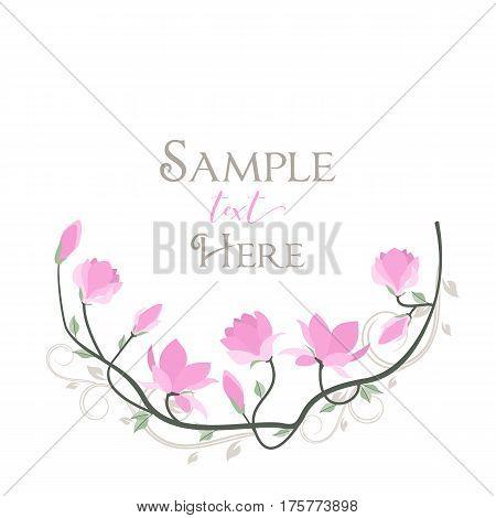 Vector illustration pink flowers. Spring magnolia flowers branch