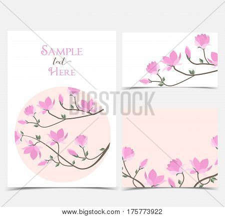 Set vector illustration pink flowers on the card. Pink spring magnolia flowers branch