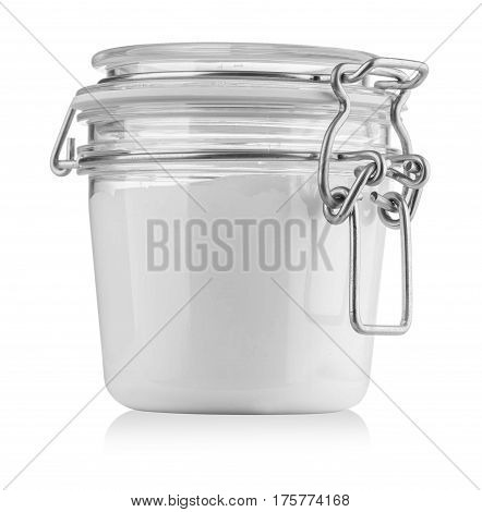 A yoghurt pot isolated on white background. Computer generated image with clipping path.