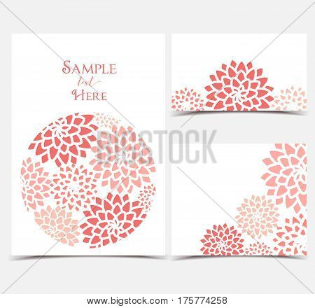 Set vector illustration red flowers on a white background. Floral invitations