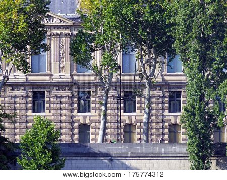 Elevation Of Paris, France. Seine River Side Building Details And Tree