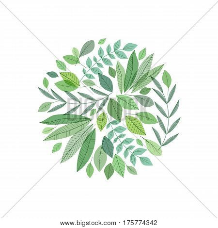 Vector illustration of decoration branches with leaves and grass, nature background