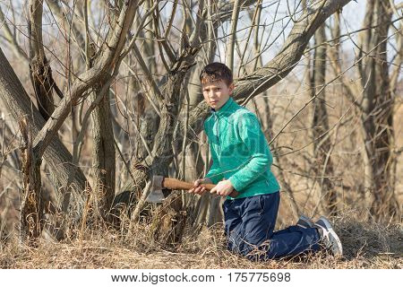 Portrait of cute little boy outdoors on the background of stacked firewood