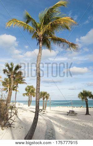 Freeport town beach at dusk on Grand Bahama Island.