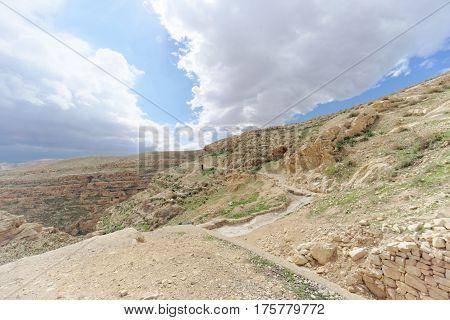 Winter View Of The Hills In The Judean Desert Near Bethlehem. Israel.