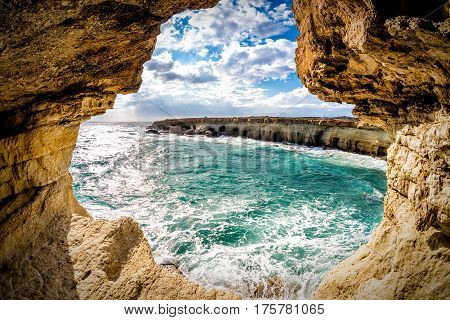 Sea caves near Ayia Napa. Famagusta District Cyprus