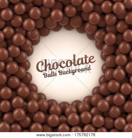 Chocolate balls background with place for your content. Vector illustration Eps 10