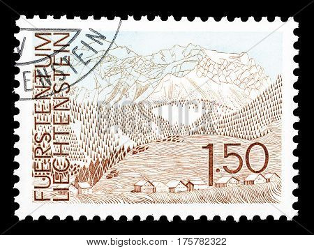 LIECHTENSTEIN - CIRCA 1972 : Cancelled postage stamp printed by Liechtenstein, that shows Landscape.