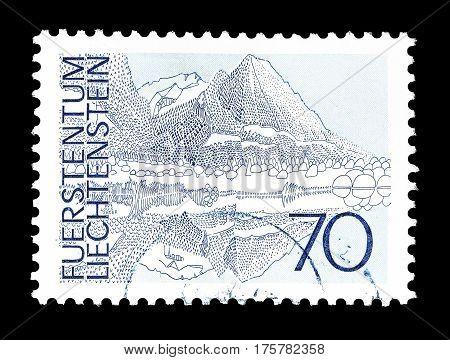 LIECHTENSTEIN - CIRCA 1973 : Cancelled postage stamp printed by Liechtenstein, that shows Landscape.