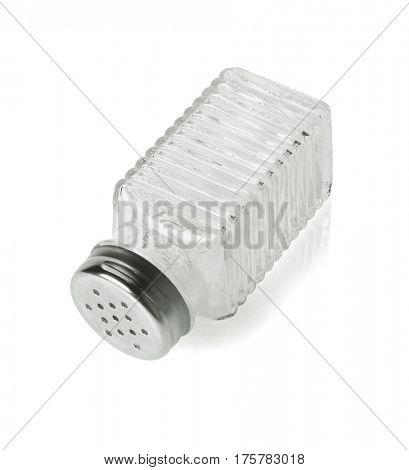 Empty Salt and Pepper Glass Bottle on White Background
