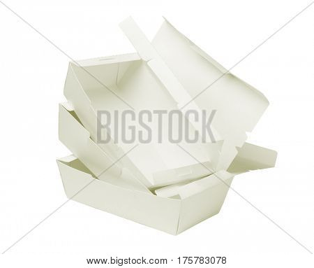 Stack of Takeaway Boxes on White Background