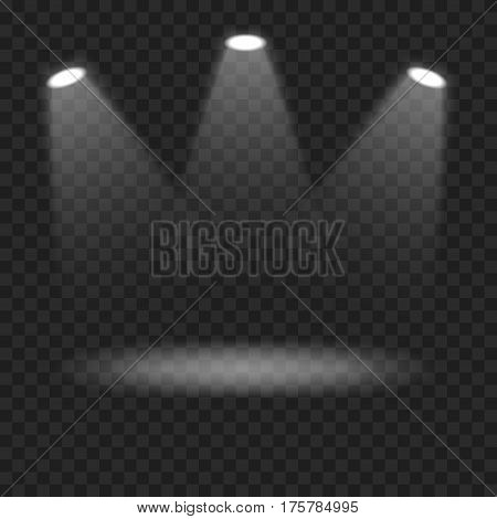 Vector spotlights on transparent background. White light effect. Bright lighting. Scene illumination effects. Template for your design.
