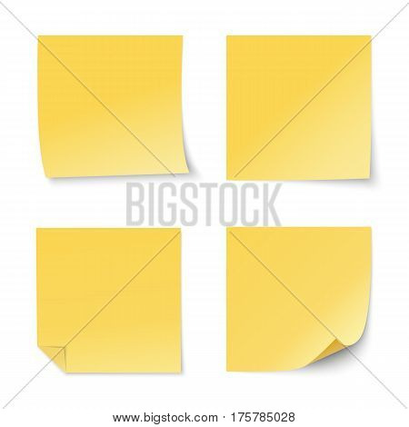 Set of vector yellow paper stickers on white background. Four realistic sticky notes. Various blank sheets with curled corners.