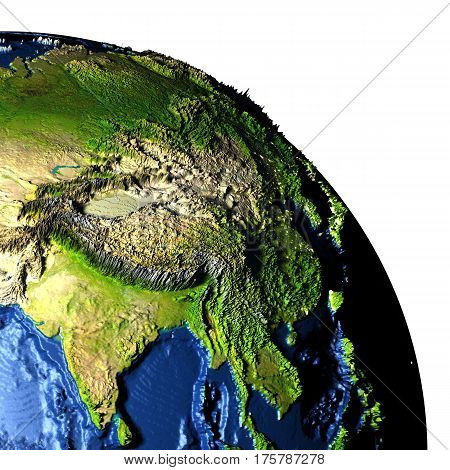 Southeast Asia On Earth With Exaggerated Mountains