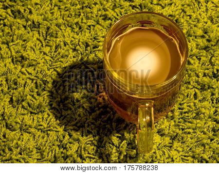 Glass Of Beer On Green Background