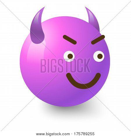 Diabolic smiley icon. Cartoon illustration of diabolic smiley vector icon for web