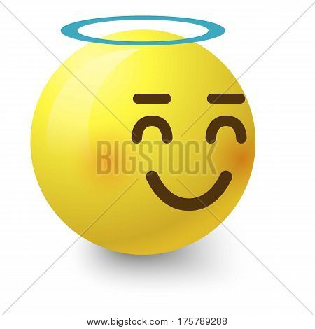 Angelic smiley icon. Cartoon illustration of angelic smiley vector icon for web