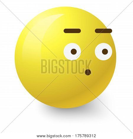 Surprised smiley icon. Cartoon illustration of surprised smiley vector icon for web