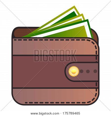 Wallet icon. Flat illustration of wallet vector icon for web