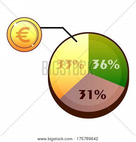 Euro diagram icon. Flat illustration of euro diagram vector icon for web