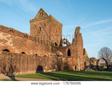 The ruins of Sweetheart Abbey , also known as Abbey of Dulce Cor, in the Galloway region in Scotland