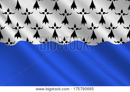 Flag of Morbihan is a department in Brittany situated in the northwest of France. 3D illustration
