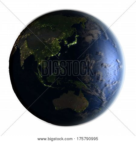 Australasia On Earth At Night Isolated On White