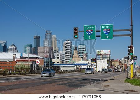 MINNEAPOLIS USA - APRIL 11 2012: near downtown