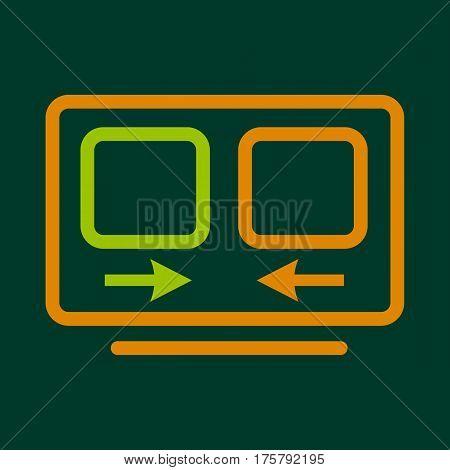 Computer translation icon. Outline illustration of computer translation vector icon for web
