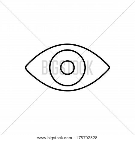 Flat line monochrome eye icon isolated on white background. Minimal eye icon for use in variety of projects. Black and white vector eye icon for web sites and apps.