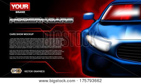 Digital vector blue new modern sport car close up mockup, ready for print or magazine design. Your brand, auto show and exhibition, lights on. Black background, red fog. Transparent, realistic 3d