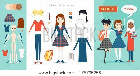 Schoolgirl character constructor set. Cartoon vector flat style infographic illustration. Girl pupil in school uniforms of different countries. Briefcase, book, hairstyle, clothes, skin color