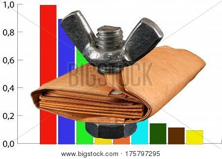 The decrease in the value of money recession leather wallet with money on the background color bar chart