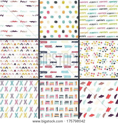 Hand Drawn seamless pattern collection. Simple texture for background, fabric or other types of design.