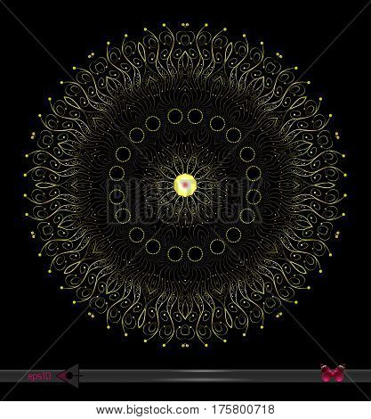 Vector Round Symmetrical Pattern. Abstract Geometric Figure. On A Black Background. Floral Structure