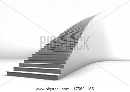 A tall white curved staircase on bright white background. Lots of negative space for copy and graphics. Great for business growth or conceptual applications.